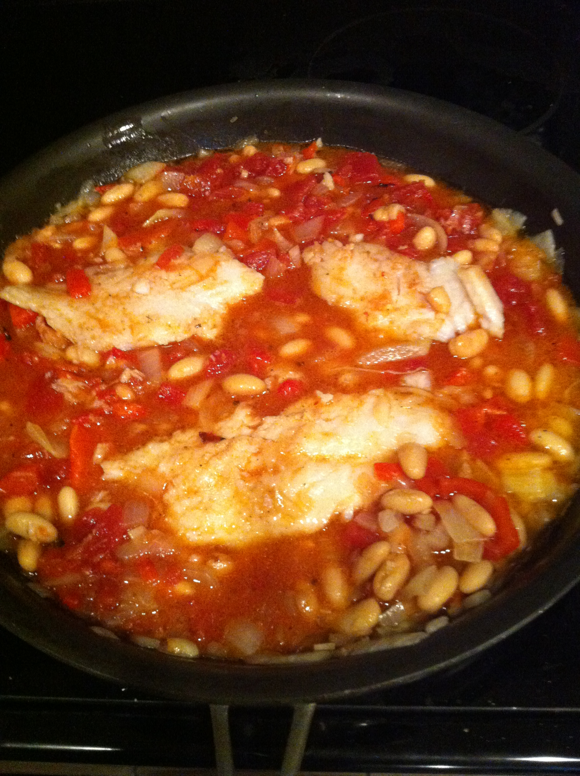 Roasted Cod With White Beans, Tomato, And Truffle Oil Recipes ...