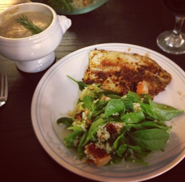 soup salad and tilapia