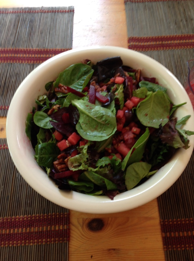 Grape beet and melon salad with candied pecans